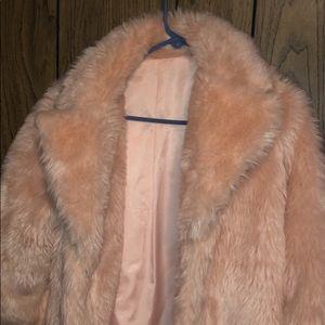 Super cute furry pink coat